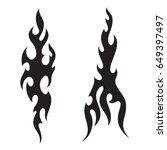 tattoo fire flames black white... | Shutterstock .eps vector #649397497