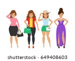 beautiful women in fashion... | Shutterstock .eps vector #649408603