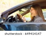 side profile angry driver.... | Shutterstock . vector #649414147