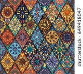 colorful vintage seamless... | Shutterstock .eps vector #649418047