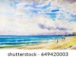 painting watercolor seascape... | Shutterstock . vector #649420003