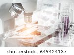 science concept. microscope... | Shutterstock . vector #649424137