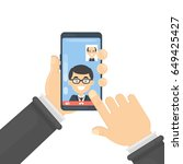 video call on smartphone. | Shutterstock .eps vector #649425427