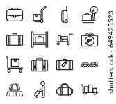luggage icons set. set of 16... | Shutterstock .eps vector #649425523