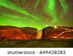 view of the northern light with ... | Shutterstock . vector #649428283