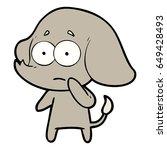 cartoon unsure elephant   Shutterstock .eps vector #649428493
