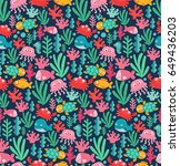 seamless pattern with funny sea ... | Shutterstock .eps vector #649436203