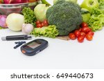 glucose meter with  fresh  raw...   Shutterstock . vector #649440673