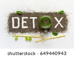 word detox is made from chia... | Shutterstock . vector #649440943