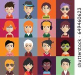 set of people icons with faces | Shutterstock .eps vector #649460623