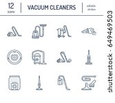 vacuum cleaners flat line icons.... | Shutterstock .eps vector #649469503