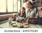 beautiful grandma and... | Shutterstock . vector #649474183