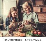 beautiful grandma and... | Shutterstock . vector #649474273