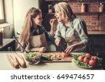 beautiful grandma and... | Shutterstock . vector #649474657