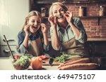 beautiful grandma and... | Shutterstock . vector #649475107