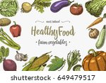 fresh vegetables background... | Shutterstock .eps vector #649479517