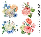 set of vintage watercolor roses ... | Shutterstock . vector #649481263