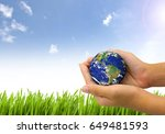 earth planet the hand on nature ...   Shutterstock . vector #649481593
