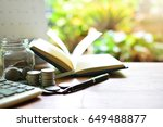 coins saving and accounting...   Shutterstock . vector #649488877
