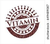 red vitamin rubber grunge stamp   Shutterstock .eps vector #649489087