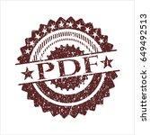 red pdf distress rubber grunge...   Shutterstock .eps vector #649492513