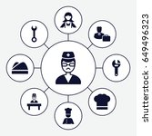 profession icons set. set of 9... | Shutterstock .eps vector #649496323