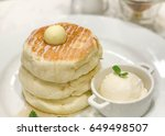 fluffy thick pancake stack with ... | Shutterstock . vector #649498507