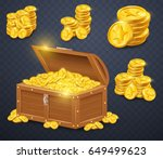 old wooden chest with gold... | Shutterstock .eps vector #649499623