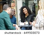 multiracial group of four... | Shutterstock . vector #649503073