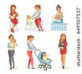 mother nursing newborn child... | Shutterstock .eps vector #649507537