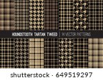 brown houndstooth tartan tweed... | Shutterstock .eps vector #649519297