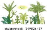 set with silhouette of green... | Shutterstock .eps vector #649526437