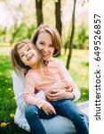 hugging happy mother and... | Shutterstock . vector #649526857