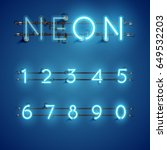 blue neon numbers set on blue... | Shutterstock .eps vector #649532203