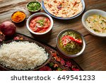 palak panner and chicken tikka... | Shutterstock . vector #649541233