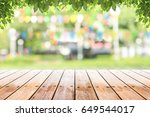 empty wooden table with party... | Shutterstock . vector #649544017