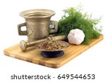 still life spices mix of hot... | Shutterstock . vector #649544653