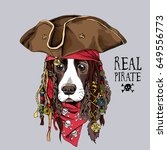 portrait of a spaniel dog in... | Shutterstock .eps vector #649556773