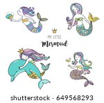 under the sea   little mermaid  ... | Shutterstock .eps vector #649568293