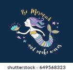under the sea   little mermaid  ... | Shutterstock .eps vector #649568323