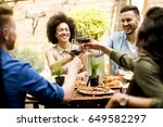 Cheerful Young People Have Lunch - Fine Art prints