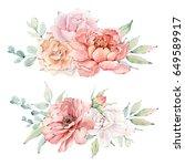 watercolor flowers set. it's... | Shutterstock . vector #649589917