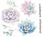 watercolor flowers set. it's... | Shutterstock . vector #649589977