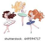 cute girl vector.t shirt... | Shutterstock .eps vector #649594717