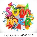 summer holiday set. summer... | Shutterstock .eps vector #649602613
