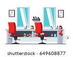 modern barber shop interior... | Shutterstock .eps vector #649608877