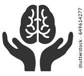 gray brain care hands interface ... | Shutterstock .eps vector #649614277