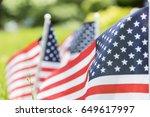 American Flag On Grass. Close...