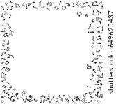 music notes frame. flat vector... | Shutterstock .eps vector #649625437