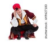 man wearing a pirate costume... | Shutterstock . vector #649627183